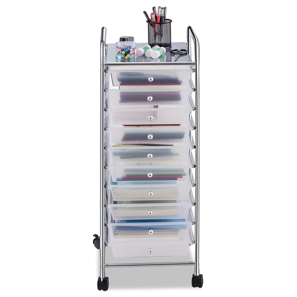Giantex 10 Drawer Rolling Storage Cart Scrapbook Paper Office School Organizer (Clear) by Giantex (Image #8)