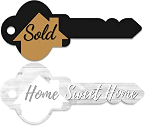 Real Estate Key Shaped Sold Sign - Home Sweet Home Photo Prop - Agent Supplies and Signs- Photo Props for Realtor and New Homeowner Gift- Closing Gifts for buyers - Our First House Warming Presents