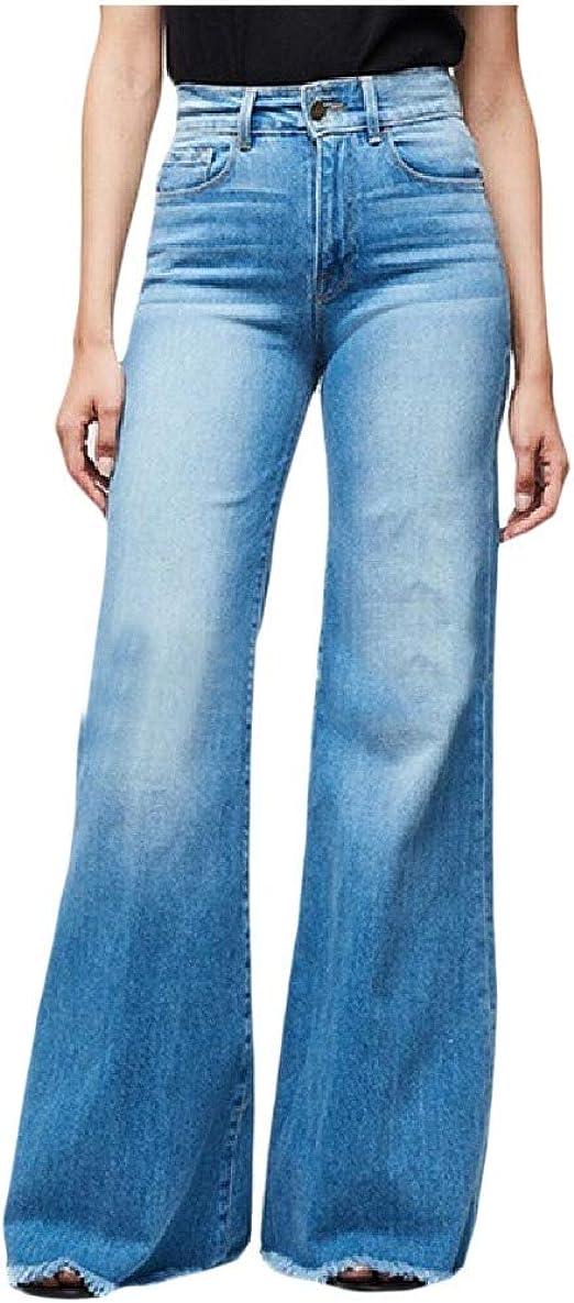 EnergyWD Womens Casual High Waisted Bell Bottom Pants Raw Hem Denim Jeans