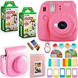 FujiFilm Instax Mini 9 Instant Camera + Instax Film (40 Sheets) + Accessories Bundle - Carrying Case, Color Filters, Photo Album, Stickers, Selfie Lens + MORE (Flamingo Pink)