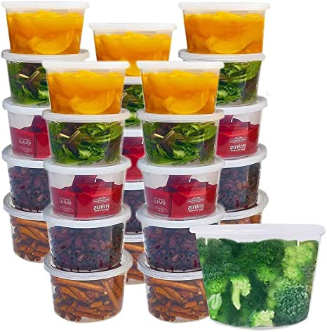 Amazon Com 24 Pack Food Storage Containers Set 16 Oz Plastic Deli Container With Lids Soup Broth Lunch Meal Prep Prepping Plastic Reusable Bpa Free Stackable Leakproof Freezer Dishwasher Microwave Safe Clear Kitchen Dining