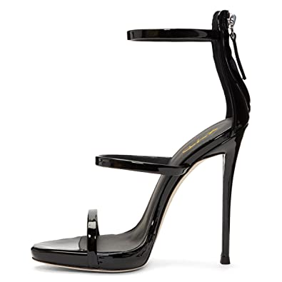 2ca54149c0e4 XYD Party Stilettos Pumps Sexy Strappy Open Toe Sandals Zipper High Heels  Dress Shoes for Women