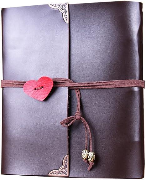 Scrapbook Album,MAMACHU Vintage Photo Album Leather Family DIY Memory Retro Photo Book Guestbook for Anniversary Mother Birthday Valentine Wedding Travel Graduation Presents for Women Mom Child