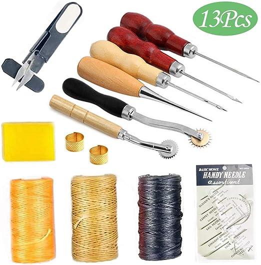 Juego de Herramientas de Costura de Cuero, 13piezas Herramientas de perforación de piel para Manualidades costura Punzón Reparación de Cuero Fabricación artesanal: Amazon.es: Hogar