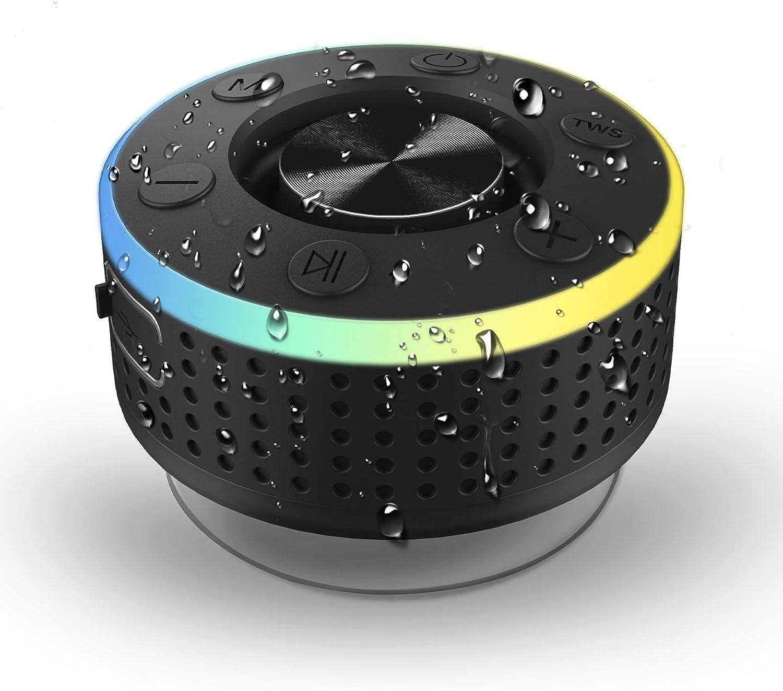 Altavoz Bluetooth,IP7 Impermeable Inalámbrico Altavoz Ducha,Altavoz Portatil Bluetooth 5.0 con Potente Ventosa, TWS HD Estéreo Micrófono Integrado, para el Hogar, Aire Libre, Viajes, reunirse