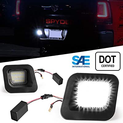 LED License Plate Light Lamp - License Tag Bolt Lights Waterproof 12V 6 SMD Car Step Courtesy Dome/Cargo Map Light for Trailers, RV Trucks 6500K Xenon White, 2pcs (WHITE Dodge RAM 1500 2500 3500): Automotive