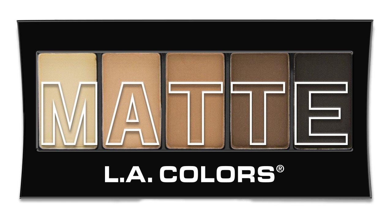 L.A. Colors 5 Color Matte Eyeshadow, Brown Tweed, 0.08 Oz L.A. Colors Cosmetics CEM472