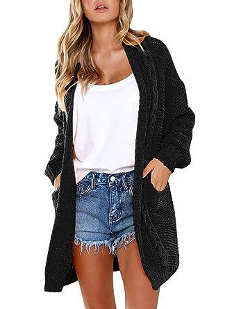 ae255a4252 Women s Boho Long Sleeve Open Front Chunky Long Cardigans Pointelle Knit  Boyfriend Oversized Sweaters Black