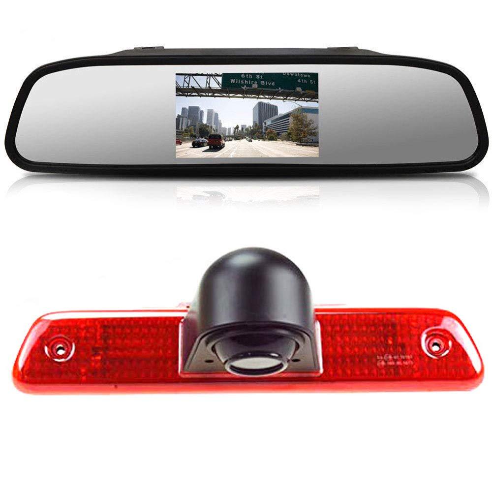 im 3.Bremslicht Bremsleuchte R/ückfahrkamera Transportster Passend f/ür Peugeot Expert 2007-2016//Fiat Scudo 2007-2016//Citroen Jumpy 2007-2016 4.3 Zoll R/ückspiegel