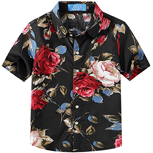 (SSLR Big Boy's Rose Casual Short Sleeve Floral Button Down Shirt (Large(14-16), Black))