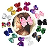 CHLONG 6'' Hand-made Butique Ribbon Hair Bow Large Hair Clips for Girls Teens Kids 14pcs(Sequin)