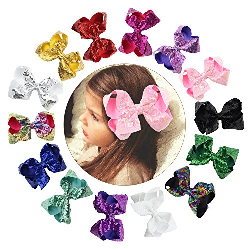 CHLONG 6'' Hand-made Butique Ribbon Hair Bow Large Hair Clips for Girls Teens Kids 14pcs(Sequin) by CHLONG