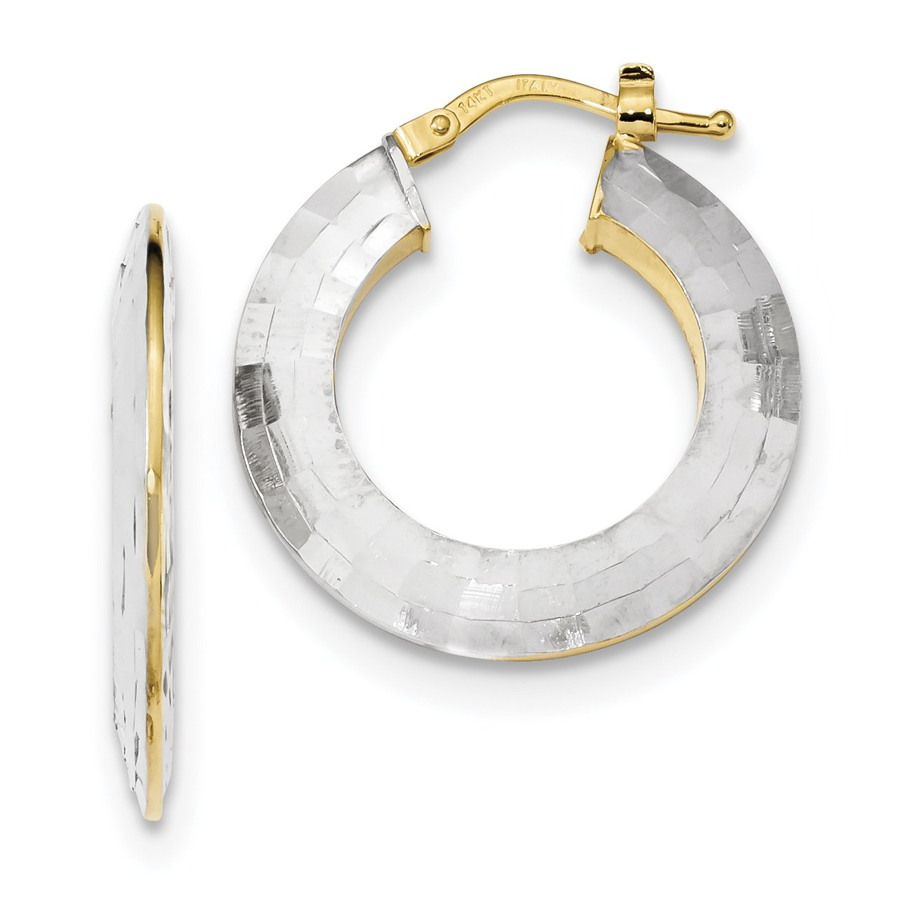 ICE CARATS 14k Gold White Textured Hoop Earrings Ear Hoops Set Fine Jewelry Gift Set For Women Heart