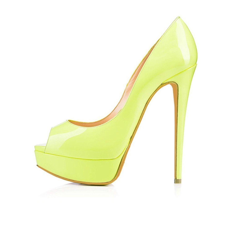 DYF Damenschuhe Farbe Größe Scharfe High Heel Flache Mund Gelb Gelb Gelb 36 babe2d