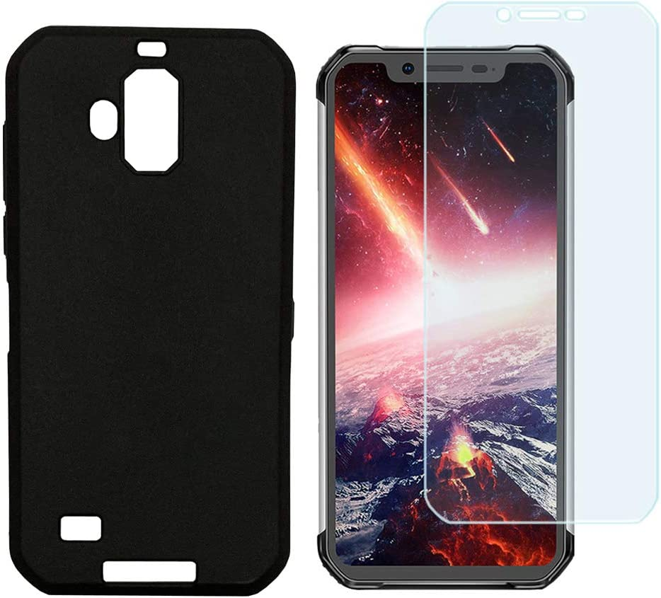 Ytaland Blackview BV9600 Pro case, [Scratch Resistant Anti-Fall] Soft TPU Case Shockproof Back Cover with Tempered Glass Screen Protector for Blackview BV9600 Pro (Black)