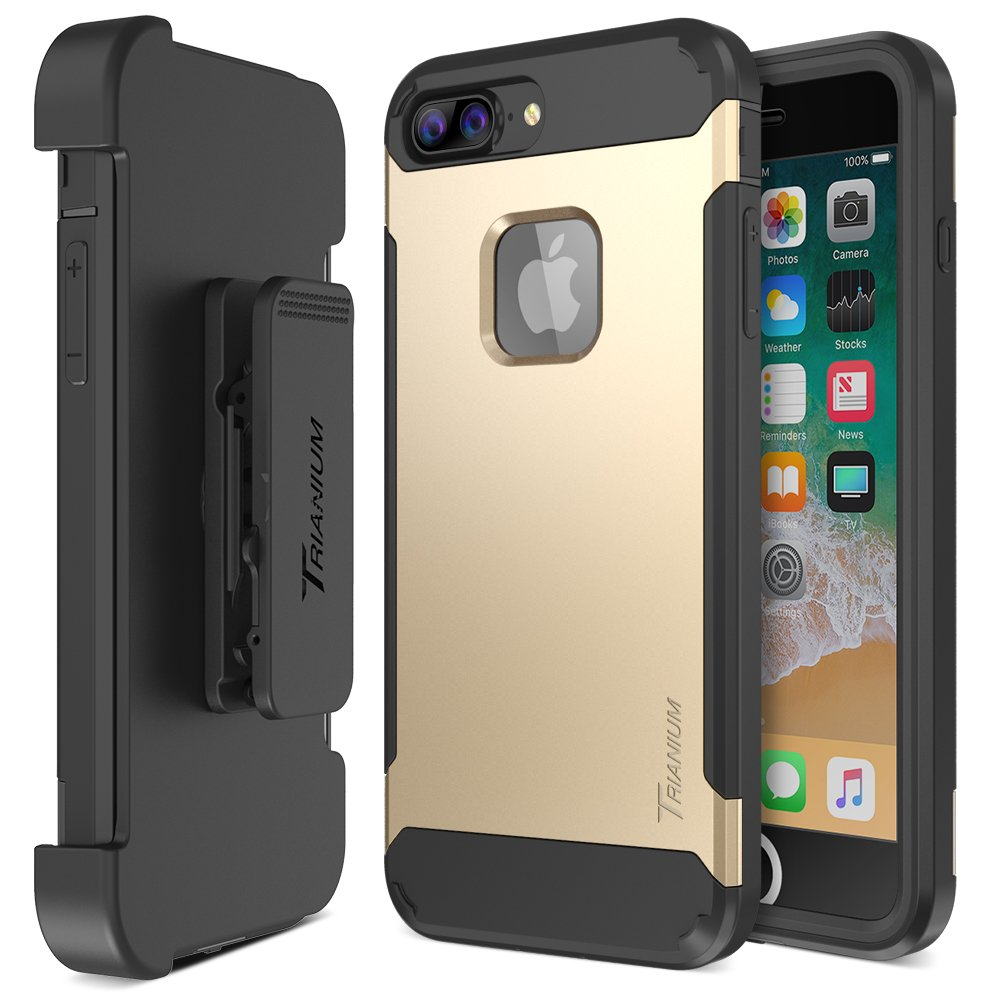 Trianium iPhone 8 Plus Case [Duranium Series] Rugged Holster Heavy Duty Protective Cover w/Built-in Screen Protector for Apple iPhone 8 Plus Phone Belt Clip Kickstand [Full Body Protection]- Gold