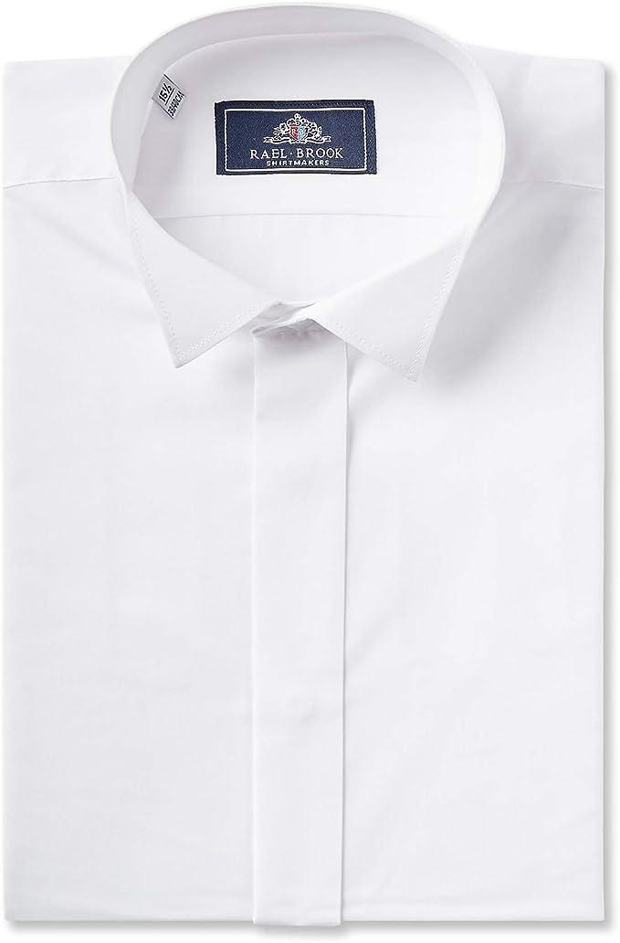 Rael Brook Camisa de vestir con cuello de ala blanca a ...