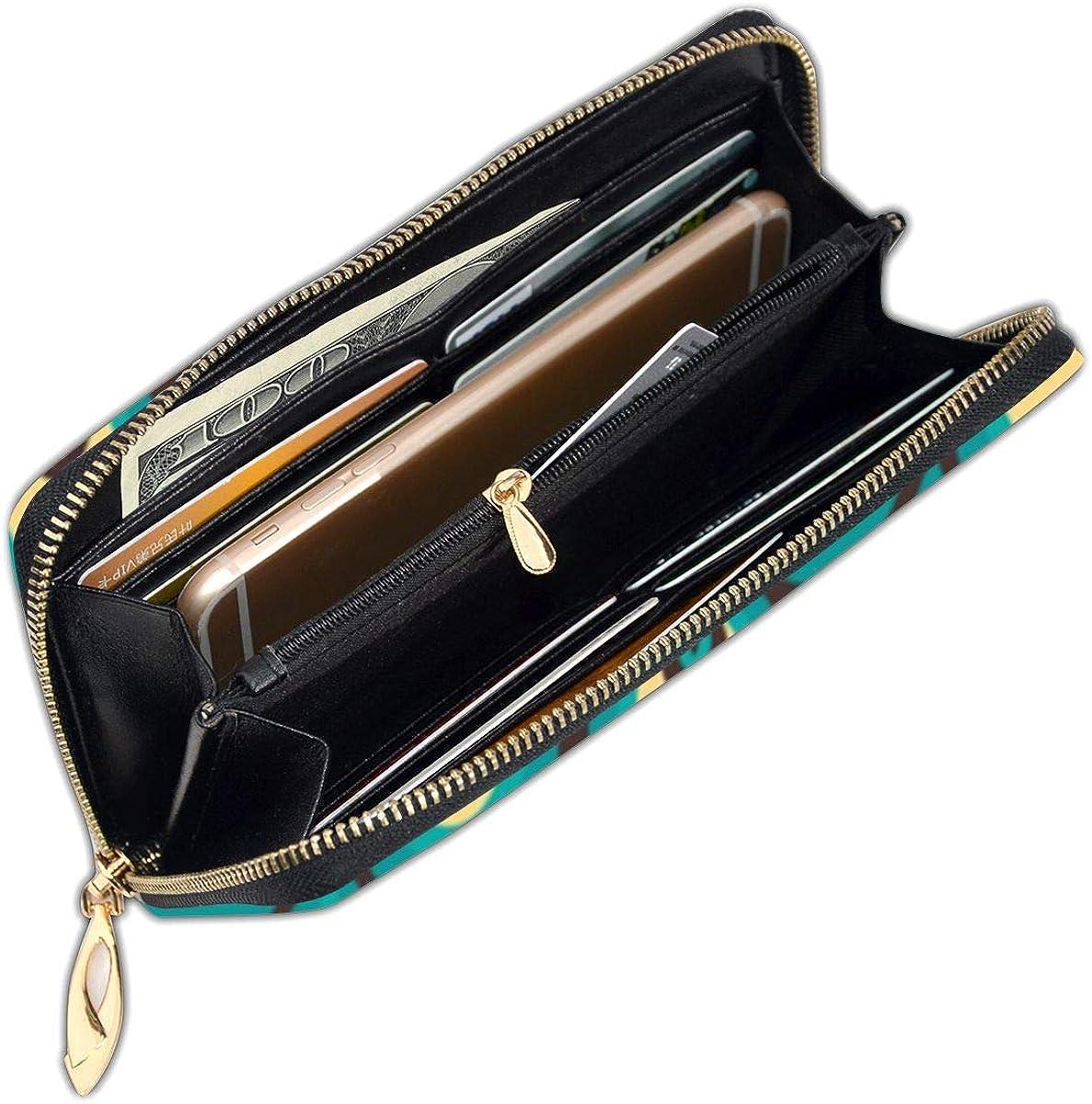 Peacock Garden Feathers Mint Wallets For Men Women Long Leather Checkbook Card Holder Purse Zipper Buckle Elegant Clutch Ladies Coin Purse