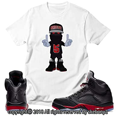 d5cacc412c43ca Custom T Shirt Matching Style of Air Jordan 5 Retro Satin Bred JD 5-1-15-8  at Amazon Men s Clothing store
