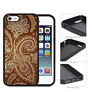 Cute Tan Floral & Swirls Pattern on Brown Background iPhone 5 5s Rubber Silicone TPU Cell Phone Case
