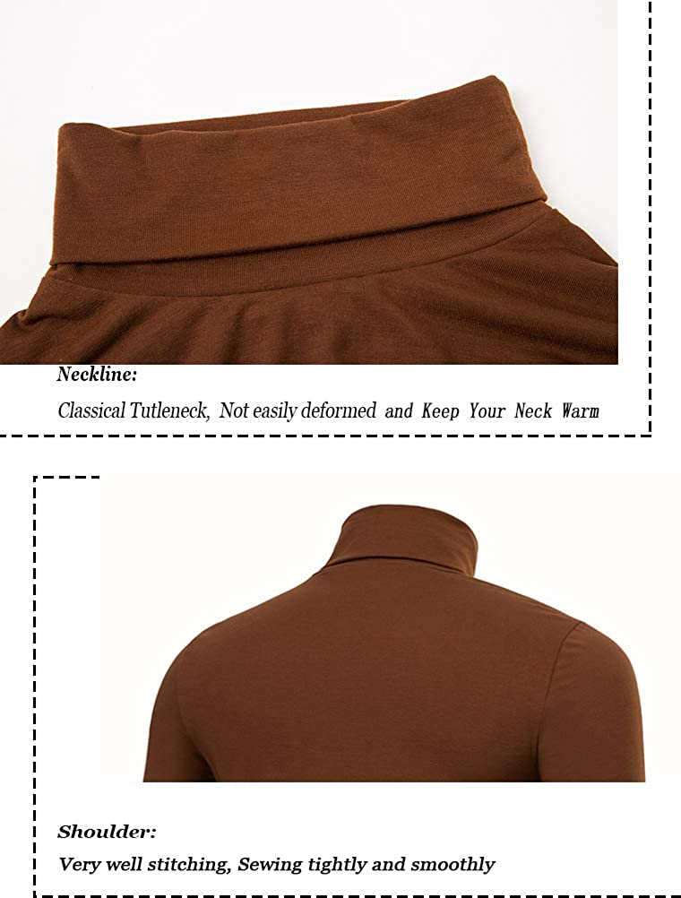 THWEI Mens Turtleneck T-Shirts Mock Turtleneck Slim Fit Long Sleeve Pullover Sweater Tee