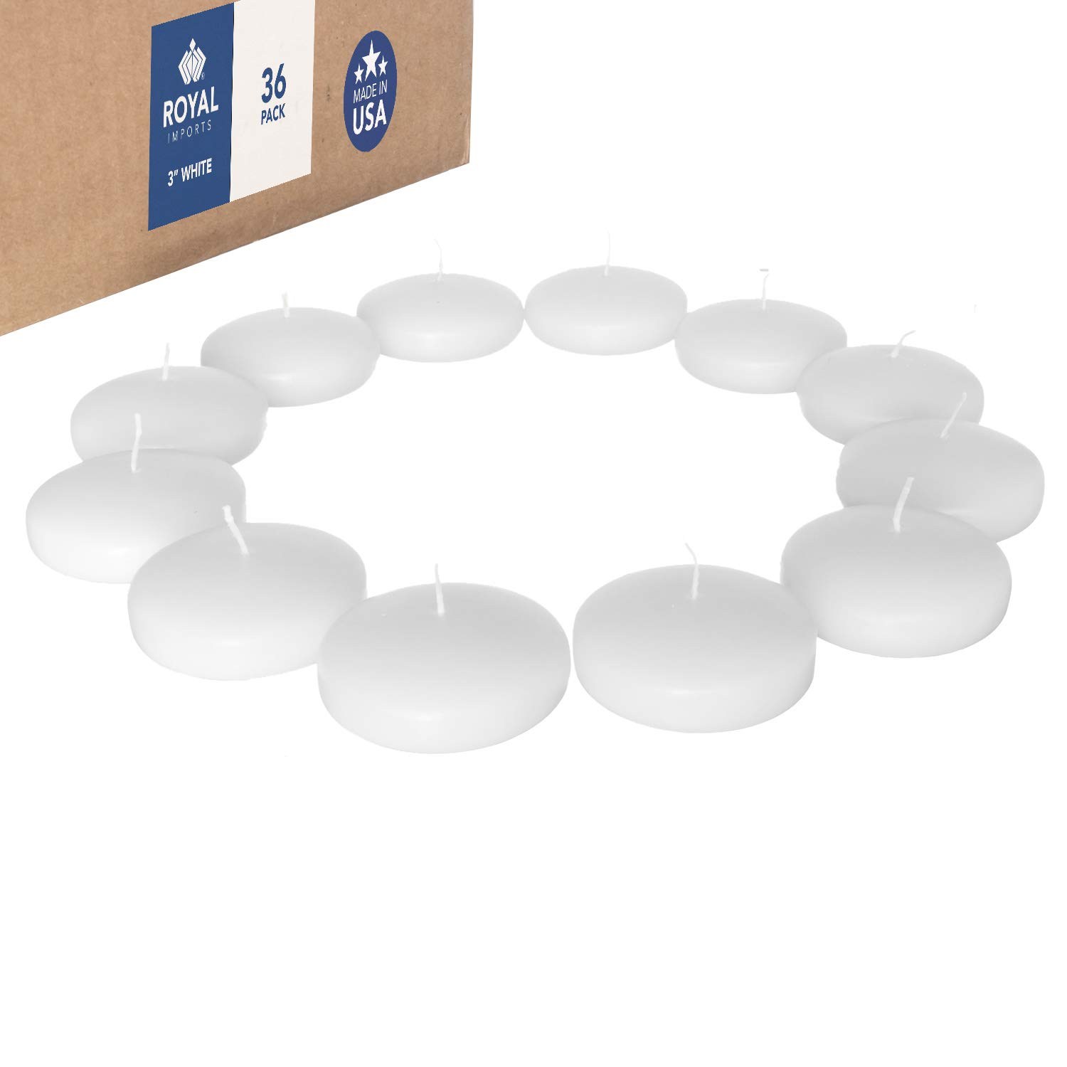Royal Imports Floating disc Candles for Wedding, Birthday, Holiday & Home Decoration, 3 Inch, White Wax, Set of 36 by Royal Imports (Image #1)