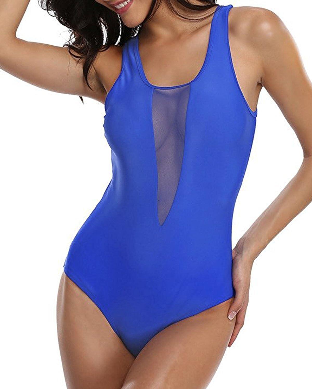 KISSLACE Damen Reizvoller Bademode Push up Badeanz/üge Neckholder Strandurlaub R/ückenfrei Monokini Bandeau Einteiler Schwimmanzug