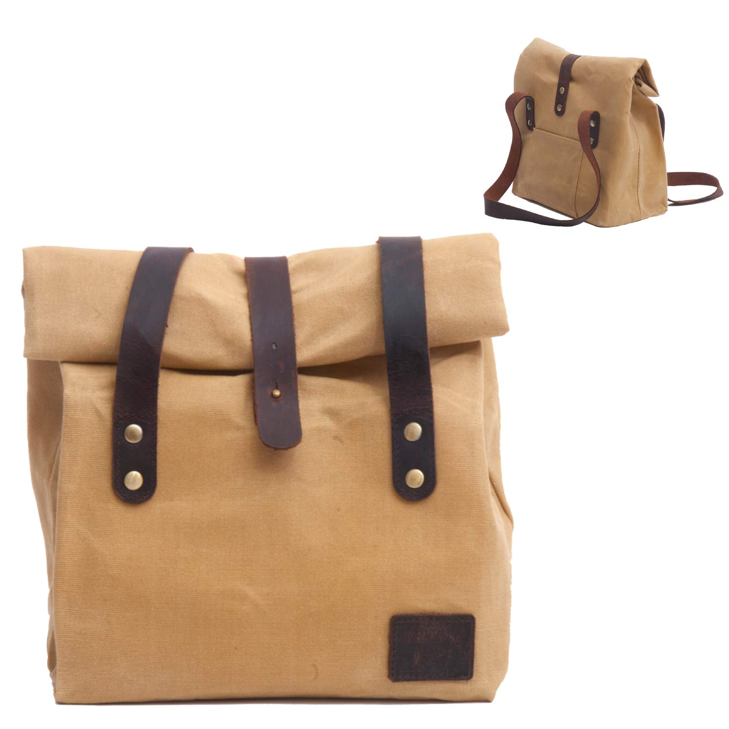 Natural Insulated Unique Waterproof Lunch Bag for Women | Reusable Waxed Canvas Lunch Box | Picnic Bag | Work Bag for All Ages | Take Your Healthy and Fresh Lunch with Our Light Weight Lunch Bag.