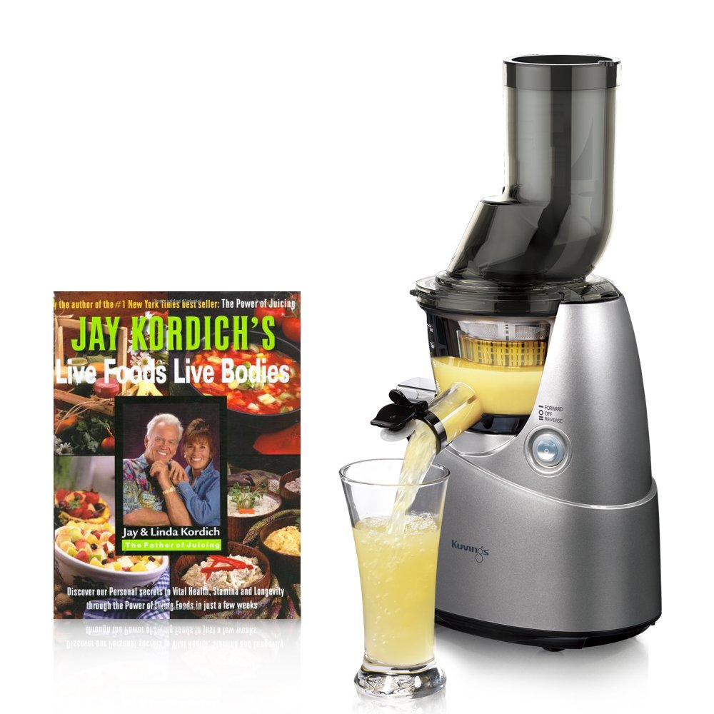 Kuvings Whole Slow Juicer Silver B6000S with Sortbet Maker, Cleaning Tool Set, Smart Cap, Recipe Book, and SPECIAL Jay Kordich Book