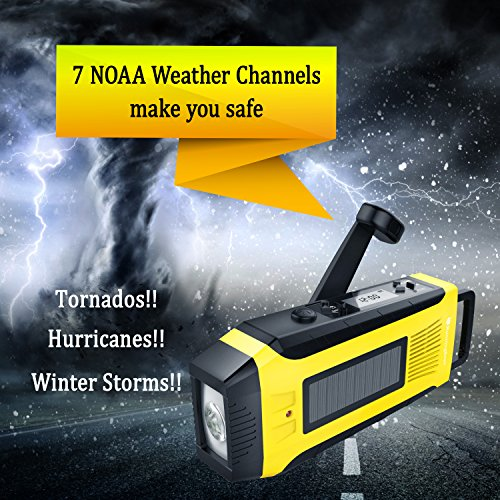 RunningSnail AM/FM NOAA Weather Emergency Solar Digital Crank Radio with 3W LED Flashlight, SOS Alarm & 2000MAh Power Bank(Yellow) … by RunningSnail (Image #1)