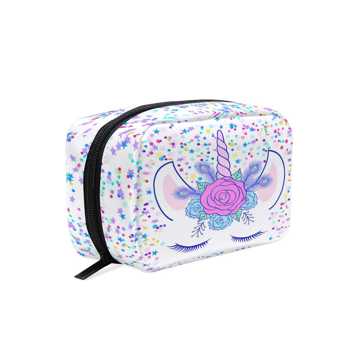 ZOEO Makeup Pouch Unicorn Cream Floral Star Mini Makeup Bag Organizer Travel Zip Toiletry Bag Small Cosmetic Train Case Beauty Bag for Teens Girls Women