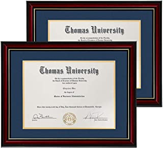 product image for flag connections Diploma Frame Real Wood & Glass Golden Rim Sized 8.5x11 Inch with Mat and 11x14 Inch Without Mat for Documents Certificates(Navy Blue, 2).