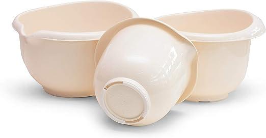 Made of Plastic Garden4You Mixing Bowl Non-Slip Bottom White Baking Bowl Set Set of 3