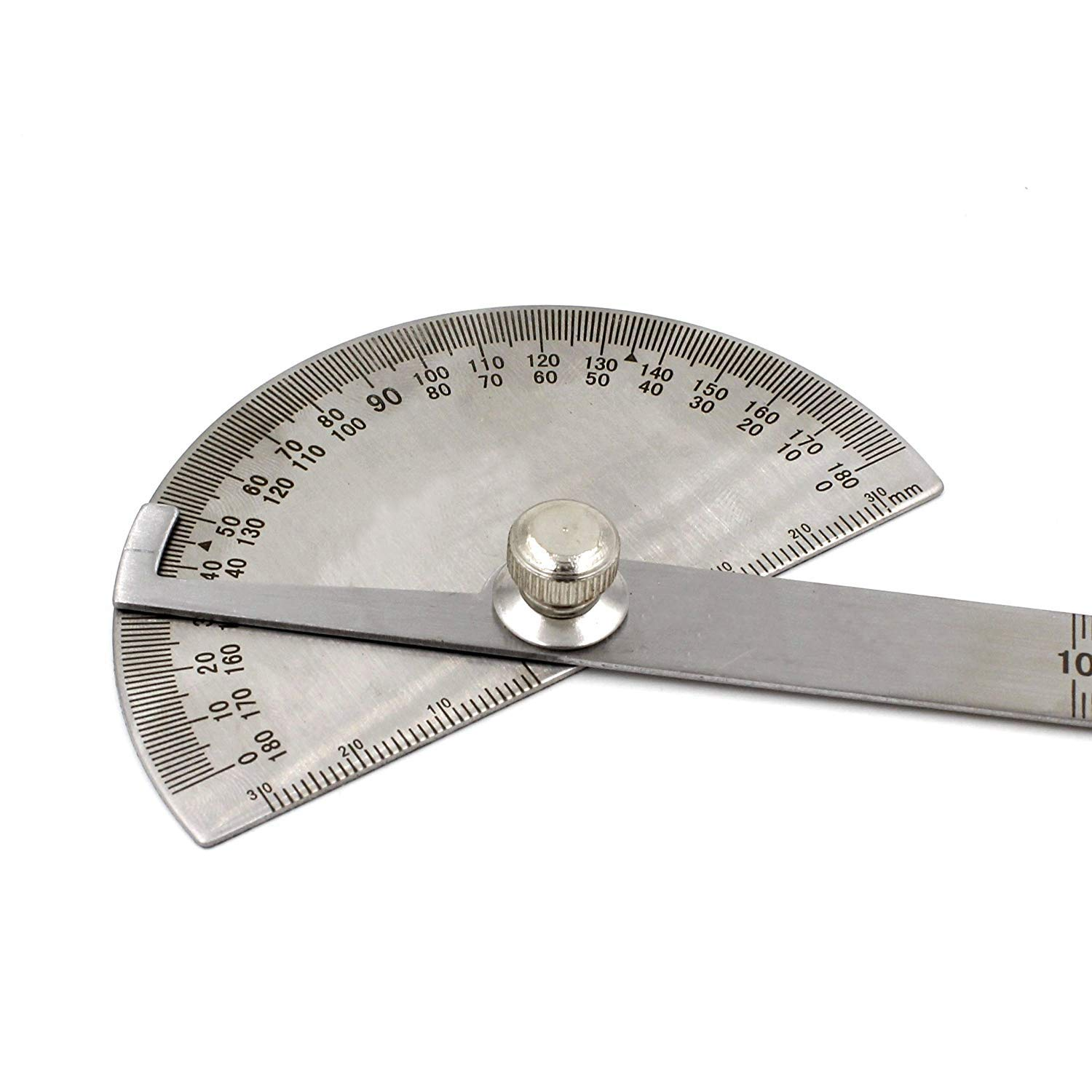 Afiken Economic Stainless Steel Round Head Rotary Protractor Angle Ruler Measuring Tool
