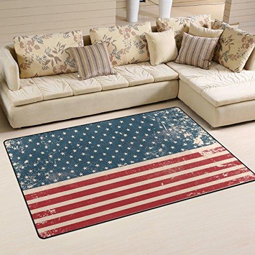 12' Vinyl Magnet Set (Vintage Distressed USA American Flag Playmat Floor Mat For Dining Room Living Room Bedroom,Size 2'7