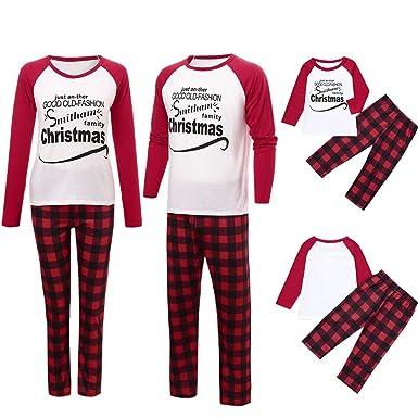 03529cc795 Amazon.com  Christmas Sleepwear Matching Family Pajamas PJS Sets Letter  Print Homewear Nightwear Adults Boys Kids Pajama Set Outfit  Clothing
