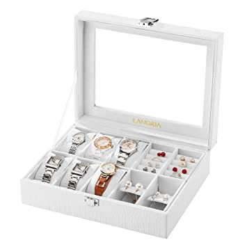 Amazoncom LANGRIA 10Compartment Faux Leather Watch Box Jewelry