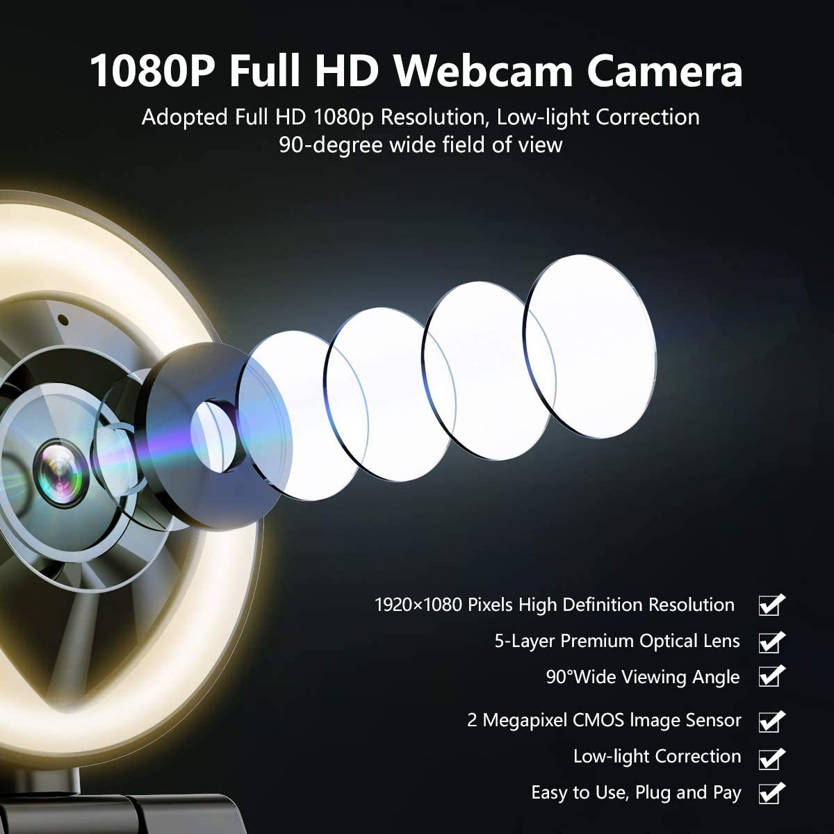 White//Warm Light 1080P HD Webcam with Light and Microphone Xbox Facebook YouTube Streamer JIGA USB Streaming Camera Adjustable Brightness Auto-Focus Privacy Protection for PC Laptop Computer