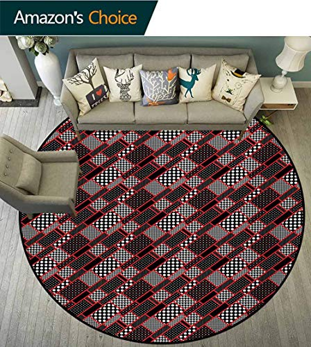 (RUGSMAT Red and Black Art Deco Pattern Non-Slip Backing Machine Washable Round Area Rug,Geometric Rectangle Frames Retro Patterns Polka Dots and Houndstooth Floor Mat Home Decor,Diameter-31 Inch)