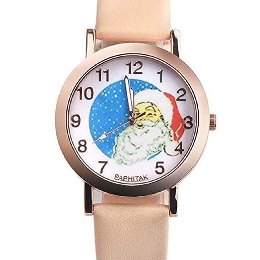 Scpink Mujeres Navidad Anciano Patrón Nuevo Relojes de Pulsera para Mujer Relojes analógicos Relojes Femeninos de Cuero (Beige): Amazon.es: Relojes
