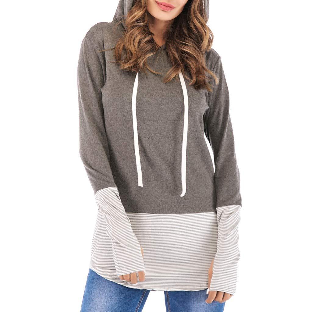 Women Hoodies Tops - ✔ Hypothesis ☎ Long Sleeve V-Neck Patchwork Pullover T-Shirt Drawstring Sweatshirt Gray