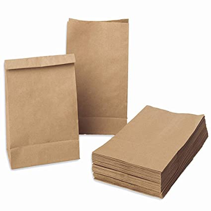 QLOUNI 100pcs Bolsas de Papel kraft de Regalo para Envolver Pan Galletas, Té, Café,Aperitivos y Dulces de Panadería Ideal para Bolsas de Fiesta, ...