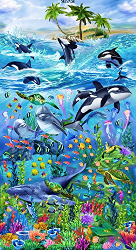 Timeless Treasures Sealife Vacation Reef Panel Quilt