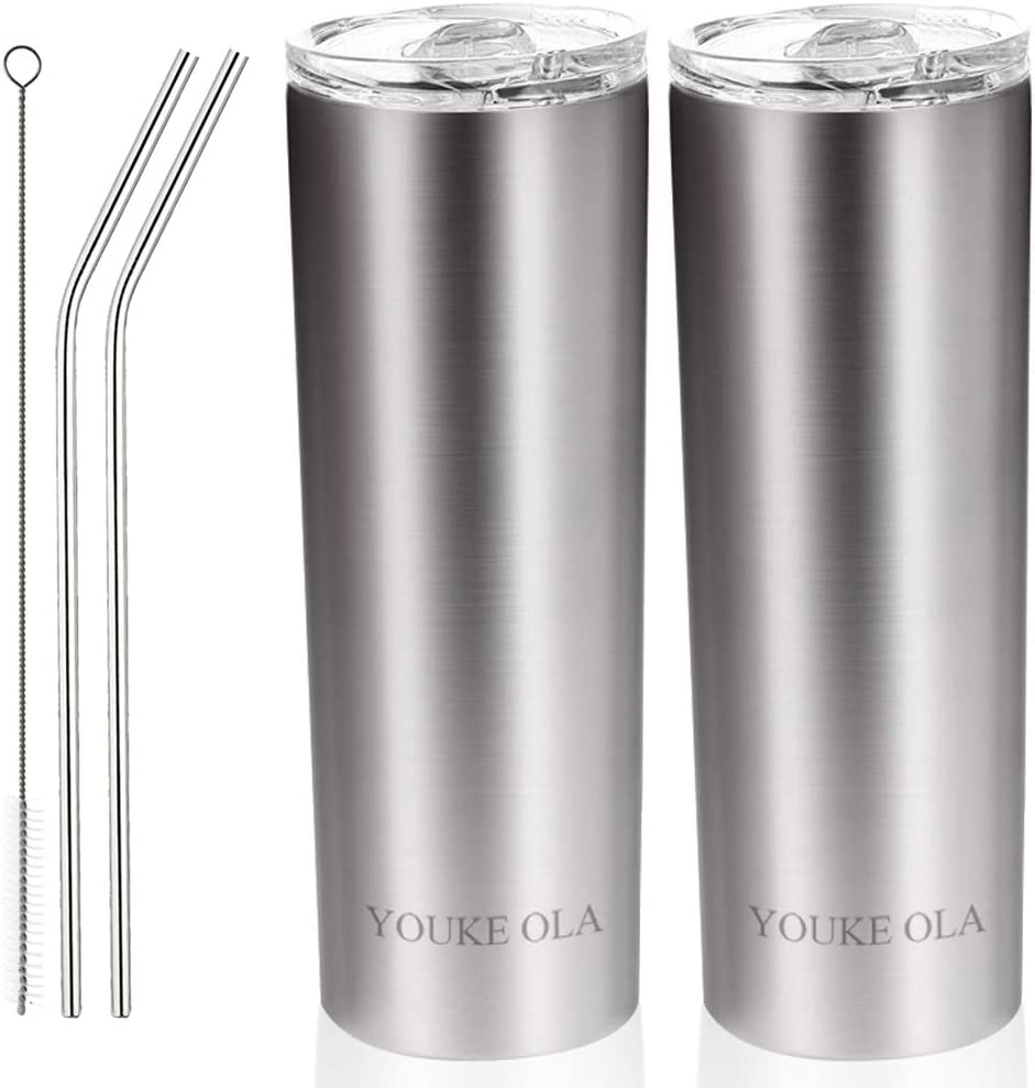 Stainless Steel Skinny Tumbler 20oz - Vacuum Insulated Double Wall Travel Mug with Lid, Straw, Brush (Silver, 20oz-2 Pack)