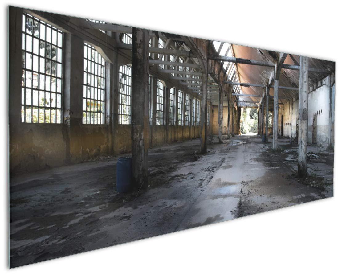 Wallario Acrylglasbild Acrylglasbild Acrylglasbild Alte Industriehalle leerstehend und einsam - 60 x 90 cm in Premium-Qualität  Brillante Farben, freischwebende Optik f425b7