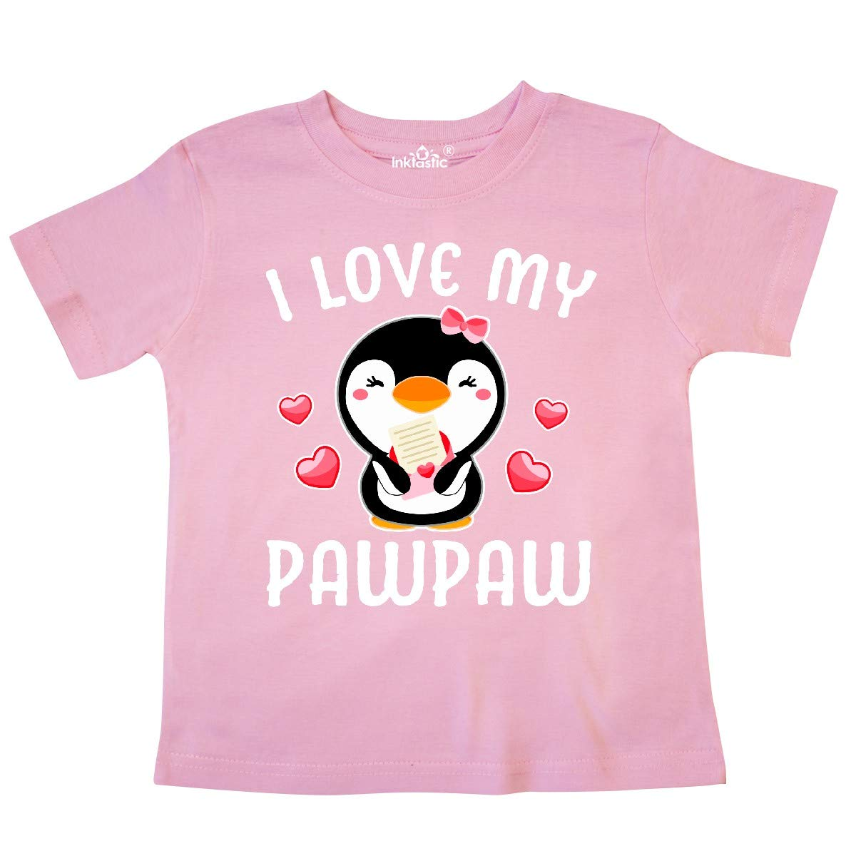 inktastic I Love My Pawpaw with Cute Penguin and Hearts Toddler T-Shirt