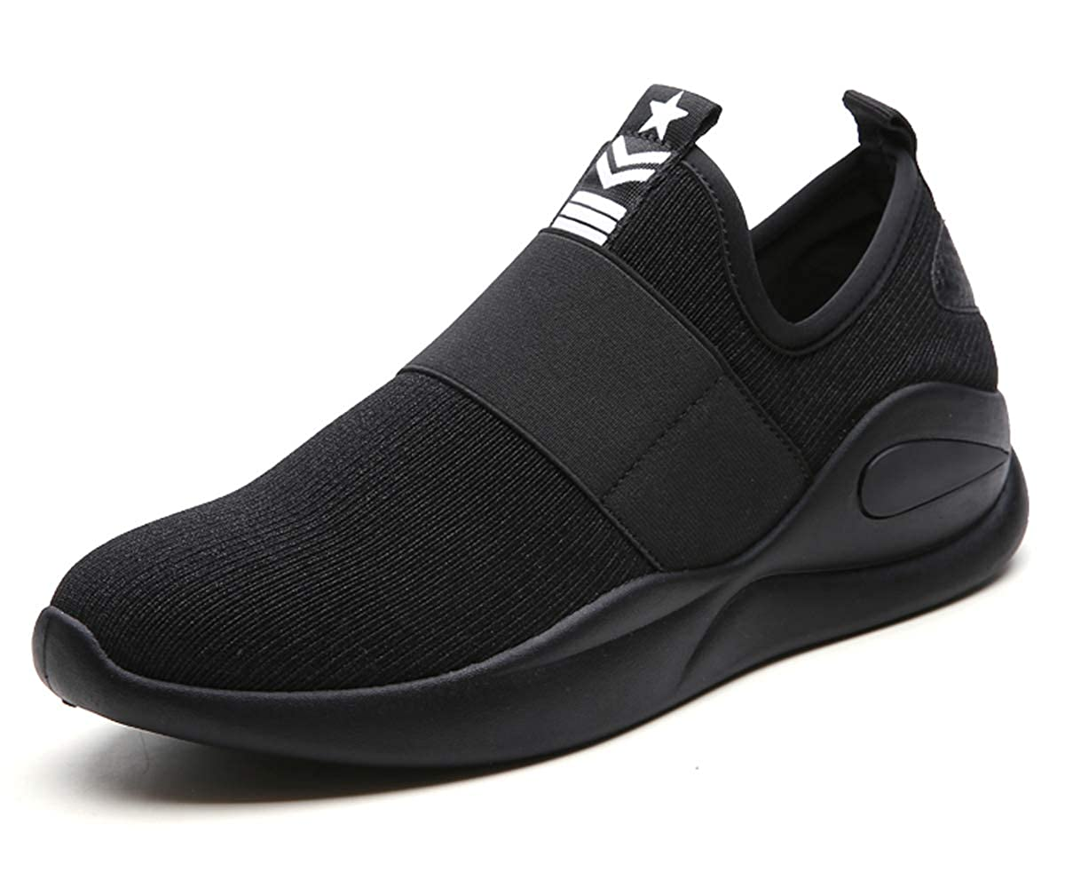 1 All Black HopCon Men's Slip On Mesh Running Sport Casual shoes Comfortable Breathable Non Slip Soft Jogging Fitness Fashion Sneakers