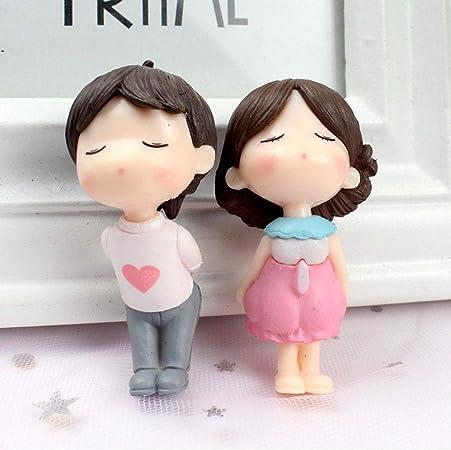 Figuras en miniatura para parejas, decoración romántica de jardín de hadas, decoración de micro paisaje de resina, decoración de parejas para casa de muñecas, Pink+white, Tamaño libre: Amazon.es: Hogar