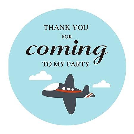 MAGJUCHE Pegatina de Agradecimiento con diseño de avión de Magjuce, Azul avión niño Baby Shower o Fiesta de cumpleaños, Pegatinas de Navidad, 5 cm, 40 Unidades: Amazon.es: Hogar