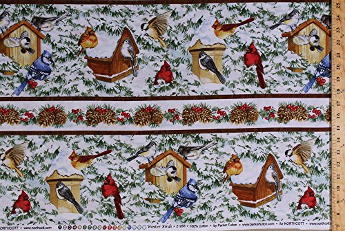 Cotton Winter Birds Cardinals Blue Jays Chickadees Titmouse Birdhouses Snow Covered Pine Trees Pine Cones Holly Berries (4 Parallel Stripes) Cotton Fabric Print by the Yard (Snow Cone Stripe)